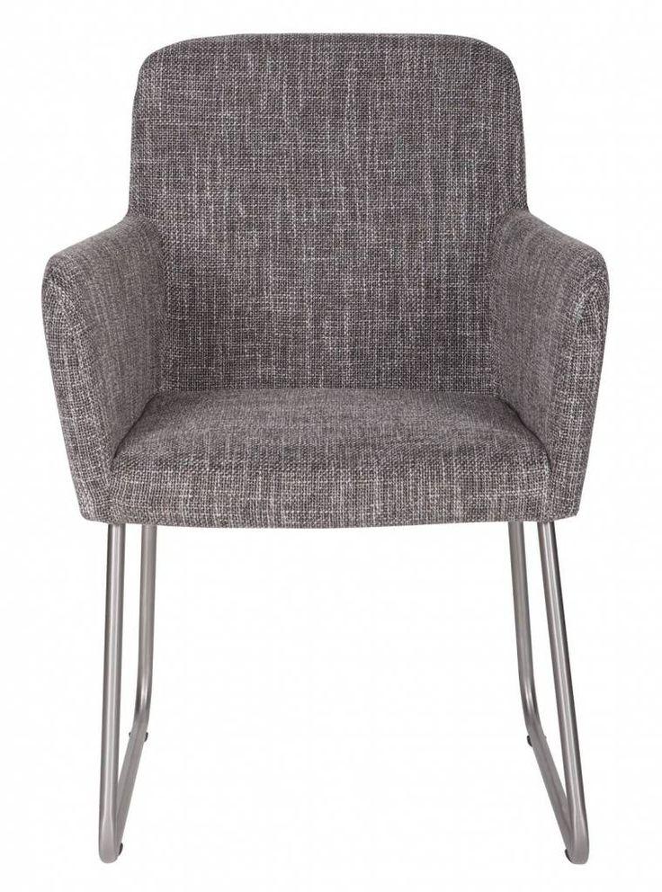 LEF collections Eetkamerstoel met armleuning 'Crafton' grijs 87x60x60cm
