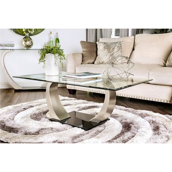 Elegant Curves And Clear Glass Meet In This Sleek Modern Coffee Table The Tempered Glass Table Top Has Blackened Beveled Glass Edges Furniture Glass Top Coffee Table Tempered Glass Table Top