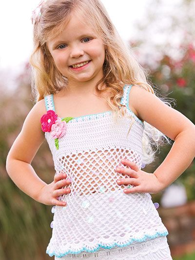 Early Morning Tank Top Crochet Pattern Download from e-PatternsCentral.com -- A simple double crochet bodice gets dressed up with a lacy net skirt adorned with pearl paillettes and sequins in this darling little girl's spring and summer top.