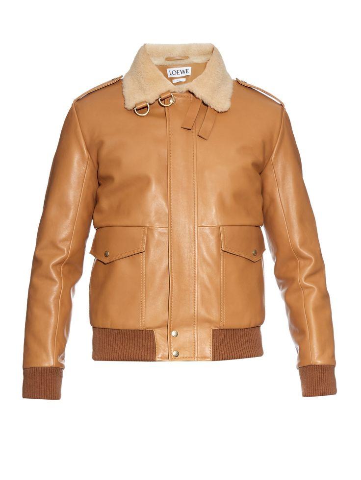 Sheepskin-collar leather aviator jacket   Loewe   MATCHESFASHION.COM UK