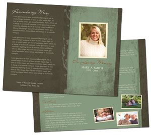 "Funeral program templates - Use the poem ""If Tomorrow Starts Without Me"" author unknown"