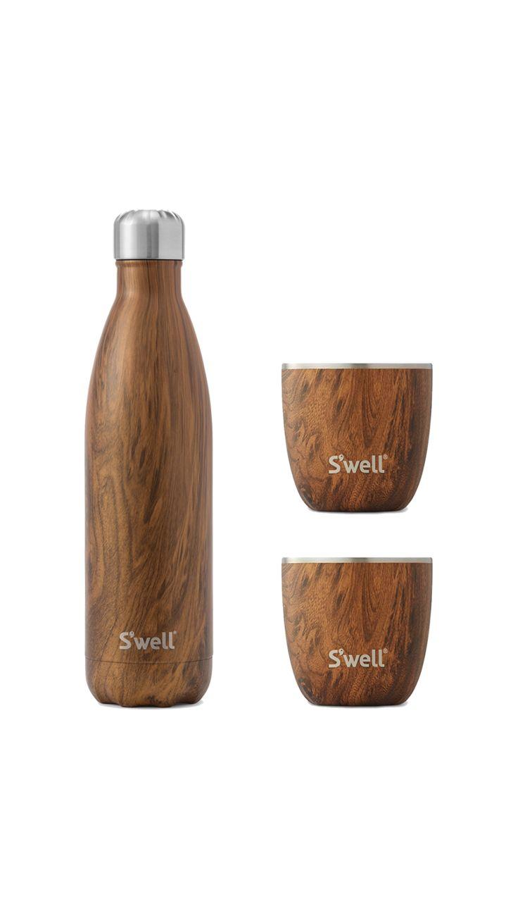 Teakwood Bottle & Tumbler Set