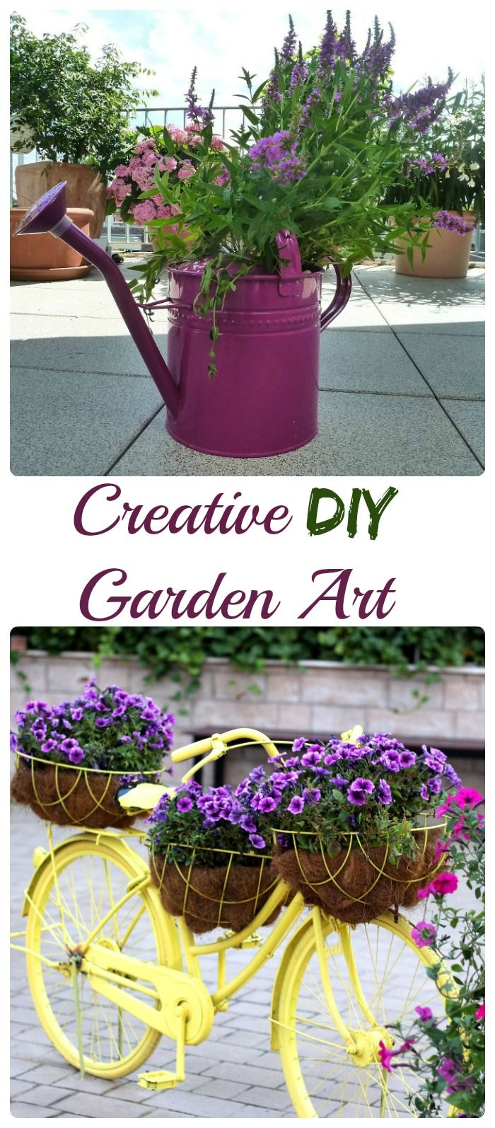 Fun Garden Art ideas- Creative ideas by Recycling turns trash to treasure and is great for home decor.
