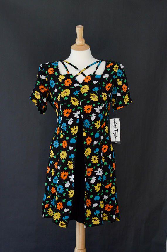 Vintage 80s Romper Dress Mod Floral Romper Playsuit Pleaded