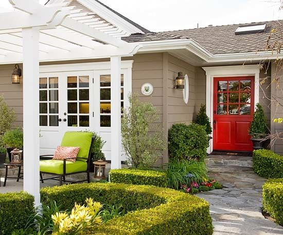I Like The Red Door With The Tan House And White Accents