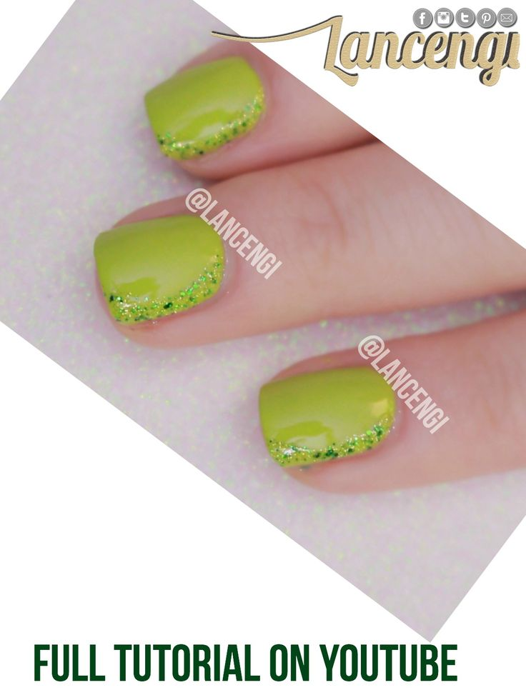628 best nail inspired images on pinterest painted nail art easy nail art for beginners with short nails green and glitter nail design prinsesfo Images