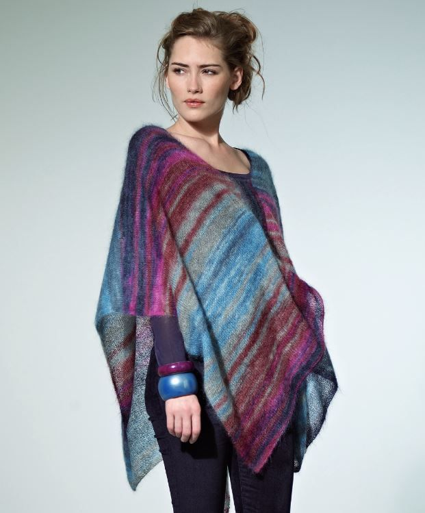 Tranquil Dusk Poncho | AllFreeKnitting.com Not a poncho person but this is beautiful, even if it would take forever to knit up as lace weight.