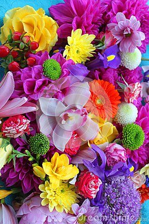 Colorful flowers background - gorgeous bouquet of flowers.