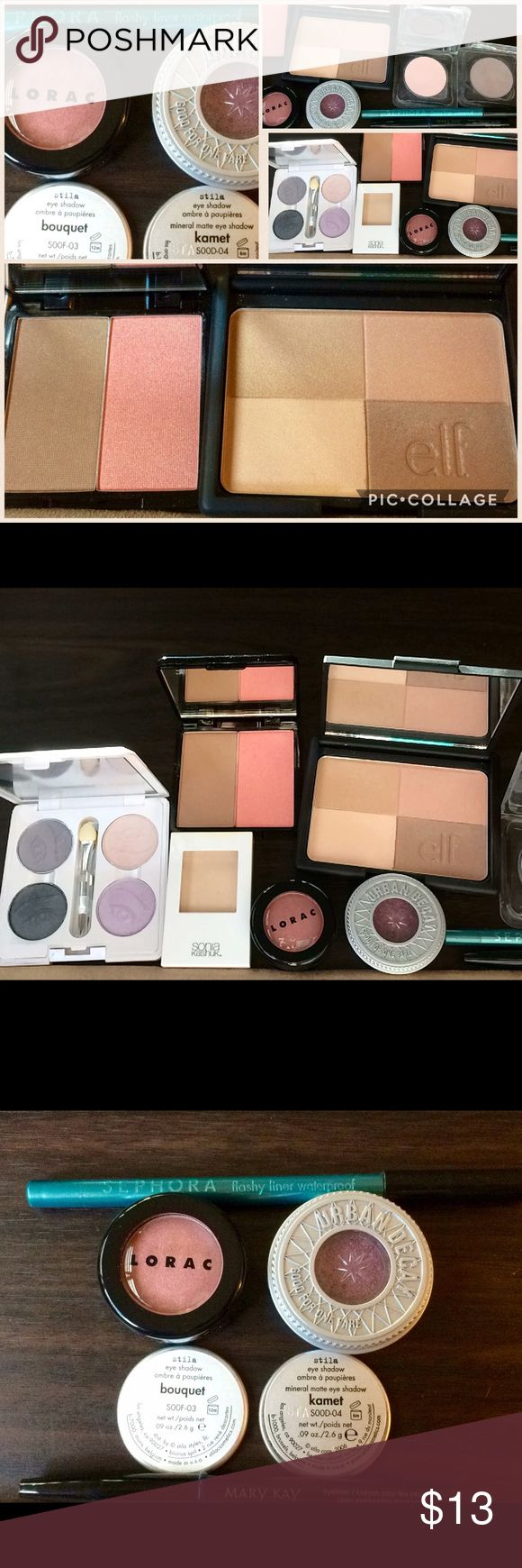 Makeup Lot Sephora •Urban Decay •Lorac •Stila •elf Makeup lot at an amazing price-point! Full sized. Mostly swatched or lightly tested. All included as pictured. •Sonia Kashuk eyeshadow- Bone• Sephora waterproof  eyeliner- flashy green• Mary Kay eyeliner- Navy• Lorac eyeshadow- Rose• Urban Decay eyeshadow- Last Call• Stila Mineral Matte eye shadows- Bouquet & Kamet• Elf Golden Bronzer• Your Best Friend- Golden gleam bronzer & baby pink blush duo• Elf eyeshadow quad• Check out other makeup…