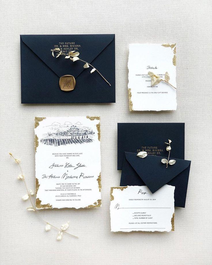 popular deckled-edge paper wedding invitation suite