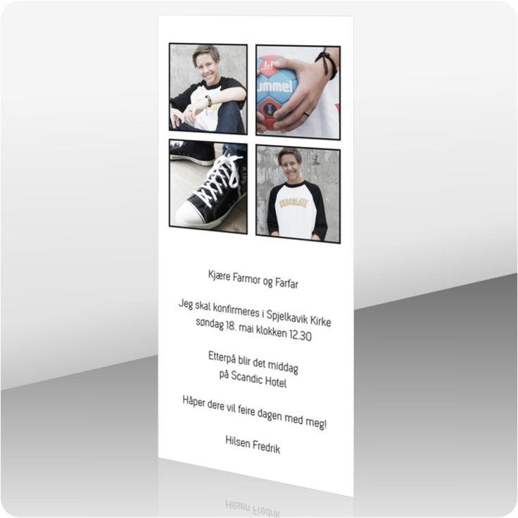 Enkel invitasjon til konfirmasjon. Prisen inkluderer: Bilde og din personlige tekst, trykt på et hvitt, tykt papir og med matchende konvolutter. Mot et tillegg kan du velge designpapir og konvolutter, samt trykk av navn i kortet og navn og adresser på konvolutten. <strong>Våre designere gjør hver ordre unik, og vi har dermed ingen automatisk forhåndsvisning. Mail med link til din forhåndsvisning sendes i løpet av 1-2 virkedager etter fullført ordre. </strong>