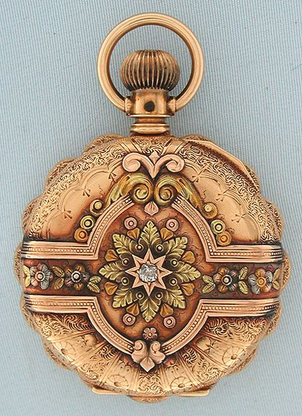Bogoff Antique Pocket Watches Multi-Color Gold and Diamond - Bogoff Antique Pocket Watch # 6660