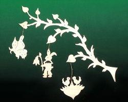 Fensterbild Ostern Zweig mit 3 Anhänger