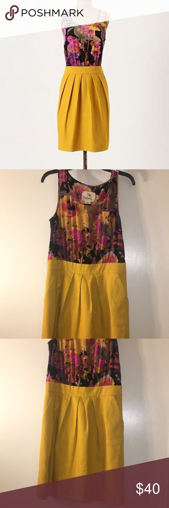 Anthropologie Tabitha Rubied silk floral dress Anthropologie Tabitha Rubied silk floral dress, beautiful colors great with leggings and booties or cute wedges in the summer. Silk top and cute mustard yellow skirt with pockets. Anthropologie Dresses