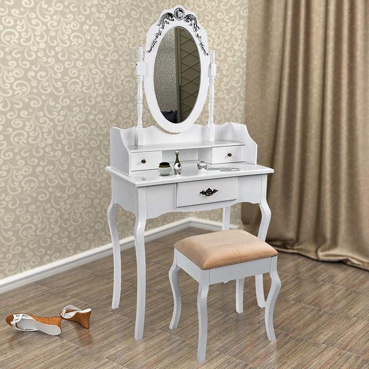 SEA328 Masa de toaleta cu taburet si oglinda - stoc limitat - http://www.emobili.ro/cumpara/sea328-set-masa-alba-toaleta-cosmetica-machiaj-oglinda-masuta-vanity-389 #eMobili
