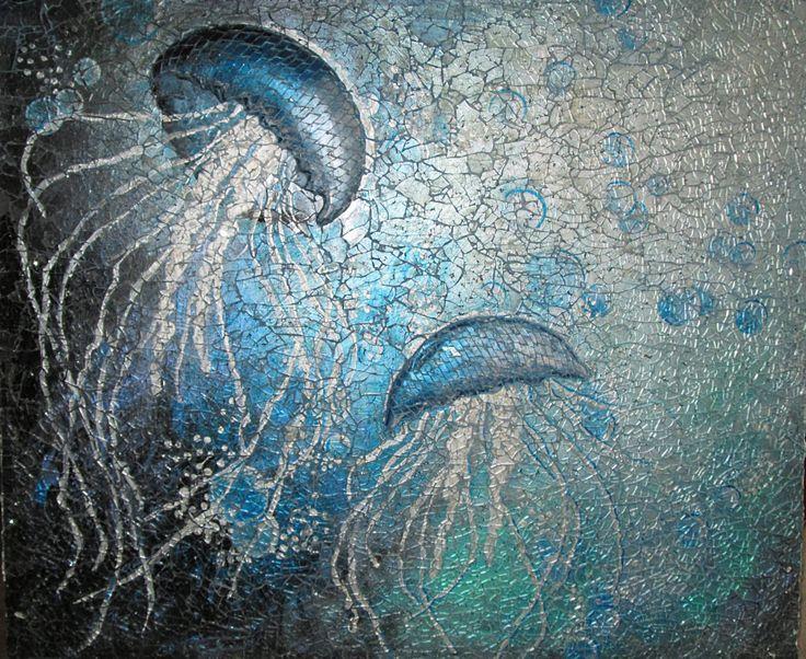 Drifting Jellyfish Glass Mosaic Panel by GlassFern on Etsy