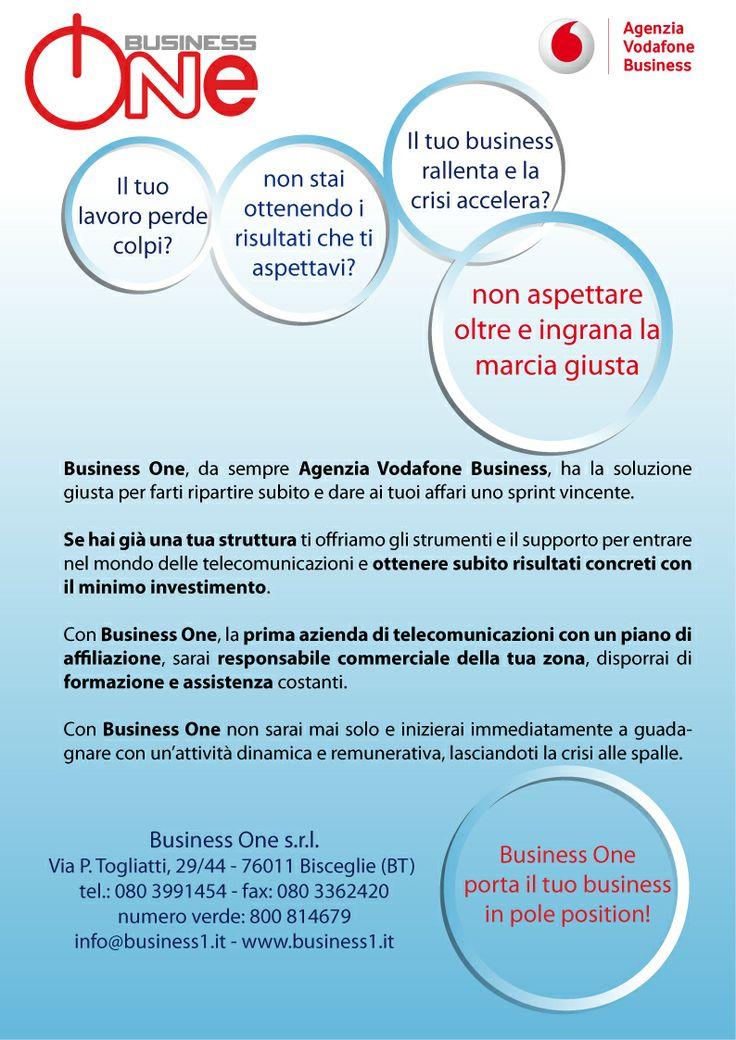 Business One, agenzia Vodafone Business, lancia per prima in Italia un programma di affiliazioni nel mondo delle telecomunicazioni. Per questo ricerca strutture già avviate e professionisti da coinvolgere nella propria rete.  Contattaci via mail: info@business1.it