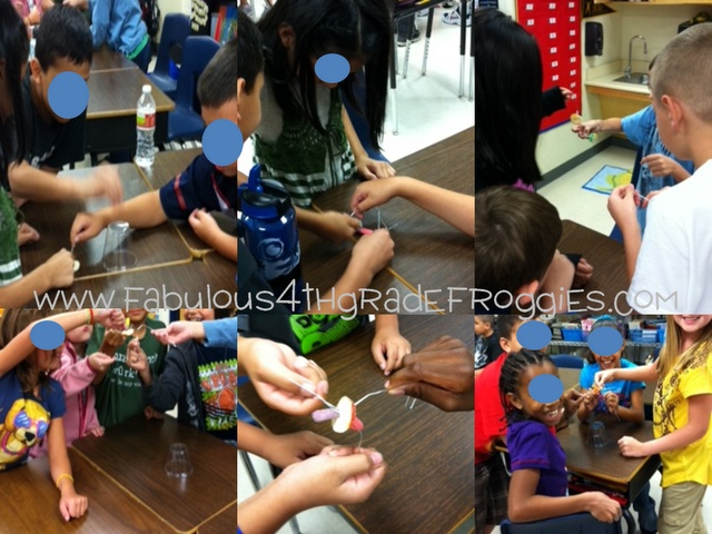 """""""Save Fred."""" Group students in fours. Pass out one paper clip to each student.  Put a gummy ring on a desk.  Place a clear cup upside down over the ring.  Put Fred, a gummy worm, on top of the cup.  Tell them the boat (cup) has capsized, and they need to put the life preserver (ring) on Fred before he drowns using their paper clips, no touching with hands!"""