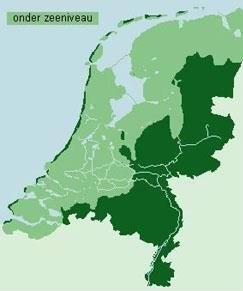 The Netherlands. Light green is below sea level