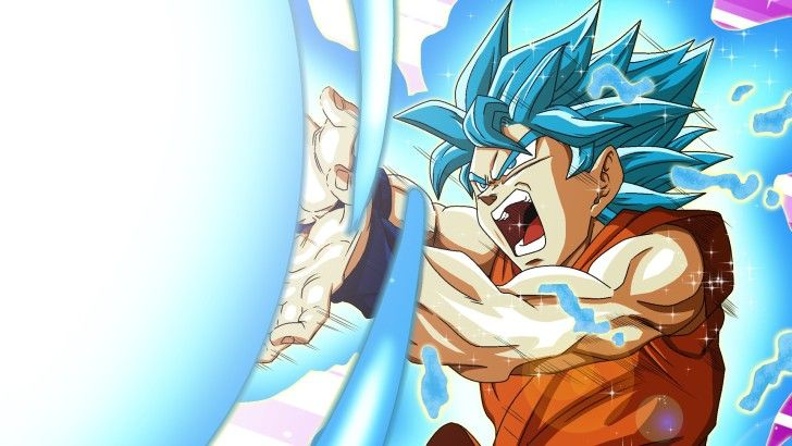Goku Super Saiyan Blue Kamehameha Wave DBS Wallpaper