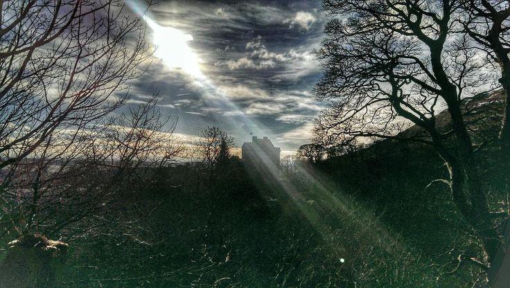 Beautiful light over Castle Campbell, Scotland.