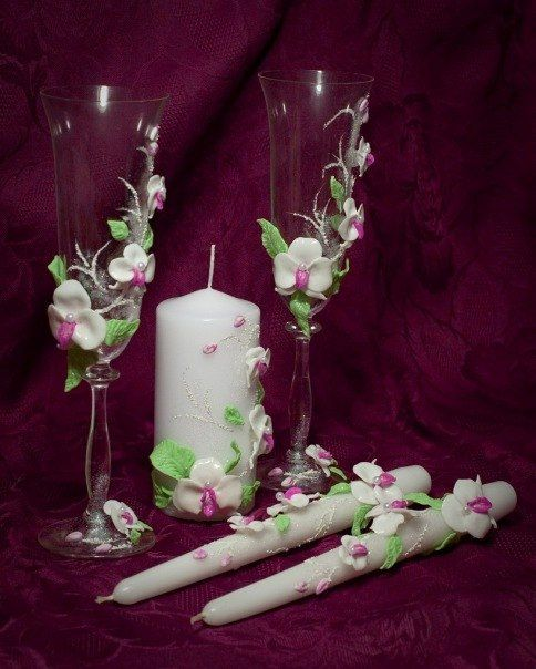 orchid Design Wedding set  champagne glasses  set by DiAmoreDS, $105.00