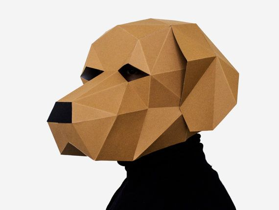 Make your own Dog Labrador Mask, Animal Head, Instant Pdf download, DIY New Year Mask, Printable Templates, 3D Polygon Masks, Printable Mask