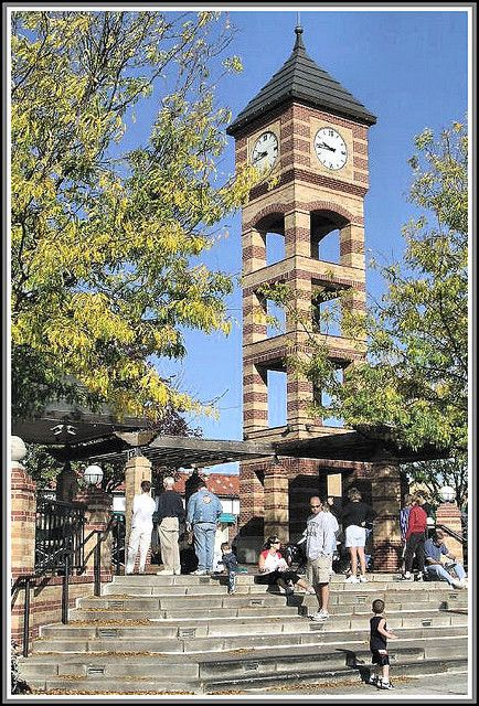 Overland Park, Kansas - clocktower and plaza are focal point of old downtown