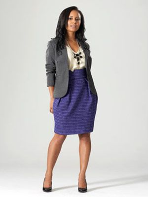 I like the fun skirt with the more casual/neutral blouse and blazer. Makes it easy to add a more noticeable necklace.