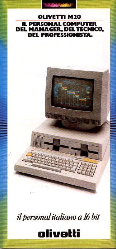Pubblicità per il computer Olivetti M20, il primo personal computer europeo presentato dalla Olivetti nel 1982.
