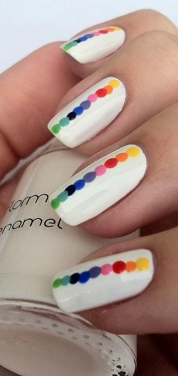 Rainbow Dots - nail design...maybe not white background, something more exciting but like the idea