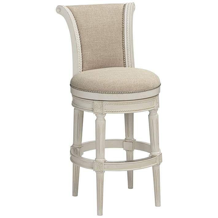 Oliver 30 Cream Fabric Scroll Back Swivel Bar Stool 47c21 Lamps Plus Bar Stools Swivel Bar Stools Bar Stools With Backs 30 inch swivel bar stools with back