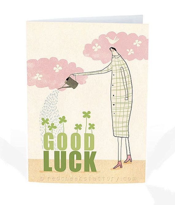 grow your luck postcard -  positive greeting card - Illustration - good luck card - woman - four leaf clovers  - gardening - nature - bird
