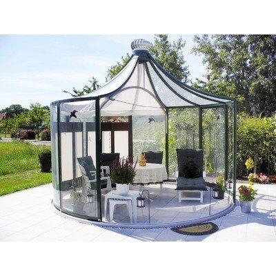 Exaco Trading Rondo Garden Pavilion, Green by Exaco Trading. $24831.76. Aluminum frame, tempered safety glass walls and plexiglas roof. Walls are 6.11-Feet high and total height is 11.10-Feet. The rondo garden pavilion creates a beautiful outdoor living space. Two moving walls that rotate 360 degrees and wind driven fan for ventilation. Walls are 6.11 feet high and total height is 11.10 feet. Forest green frame. Exaco trading is a family owned company in austi...