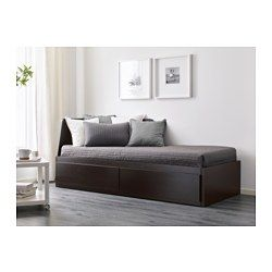IKEA - FLEKKE, Daybed with 2 drawers/2 mattresses, black-brown/Minnesund firm, , Four functions in one: seating, single bed, bed for two, and two big drawers for storage.The backrest mounts on the right or the left side of the daybed.Real wood veneer will make this bed age gracefully.You will get all-over support and comfort with the resilient foam mattress.