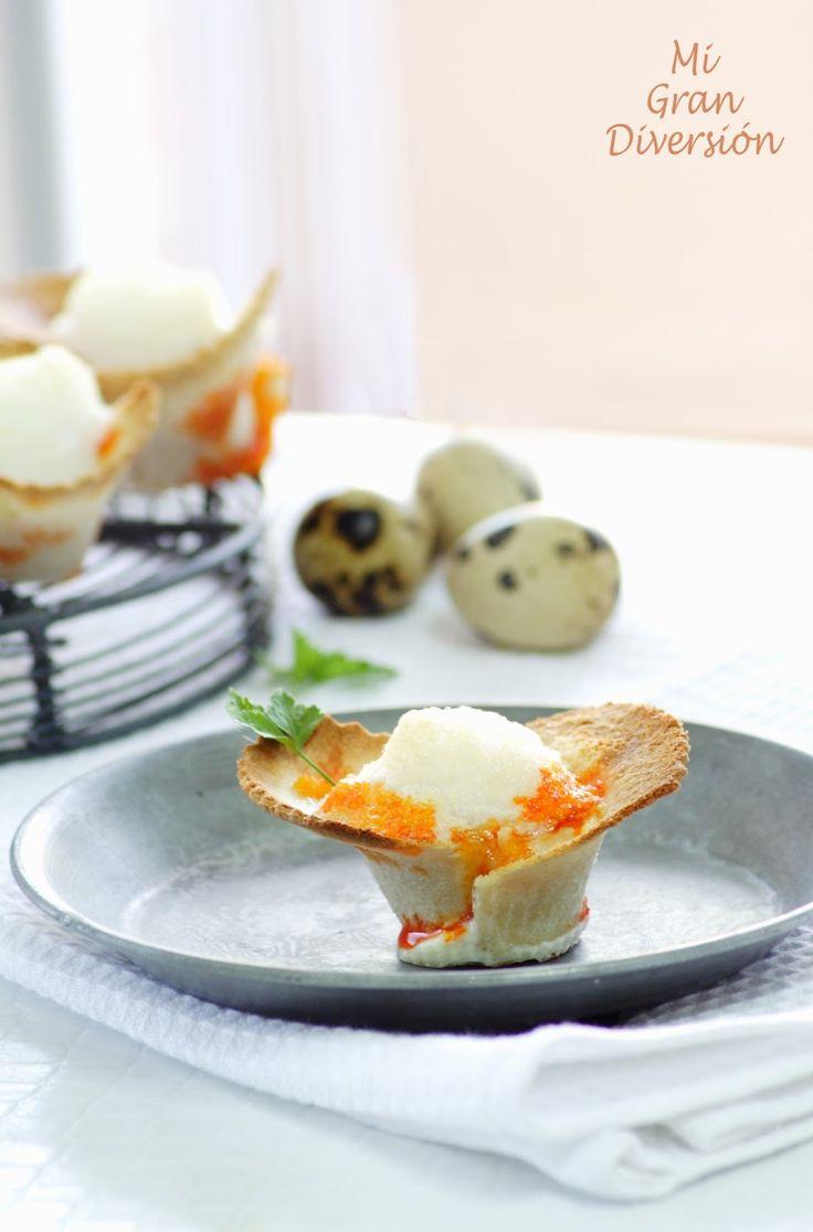 Mi Gran Diversión: Tartaletas rellenas de chorizo y queso con souffle de huevo de codorniz