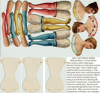 Victorian Ladies - Articulated Paper Doll Ornaments
