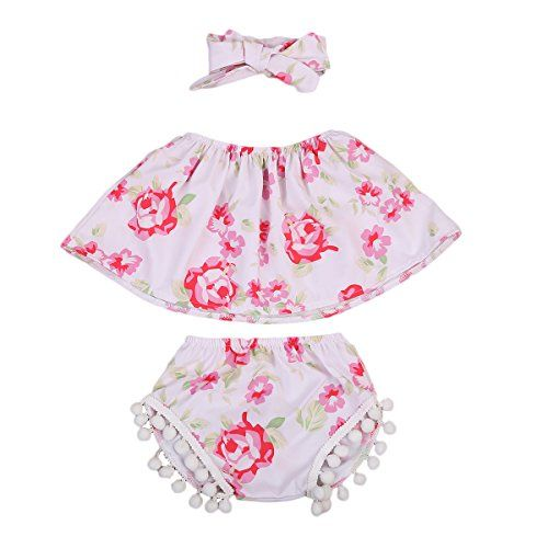 3Pcs Baby Girls Clothing Strapless Crop Tops+ Bottom Tassel Shorts Outfit with Headband (12~18months, Pink)