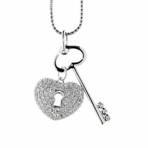 Open your heart with this magnificent sterling silver cubic zirconia pendant!