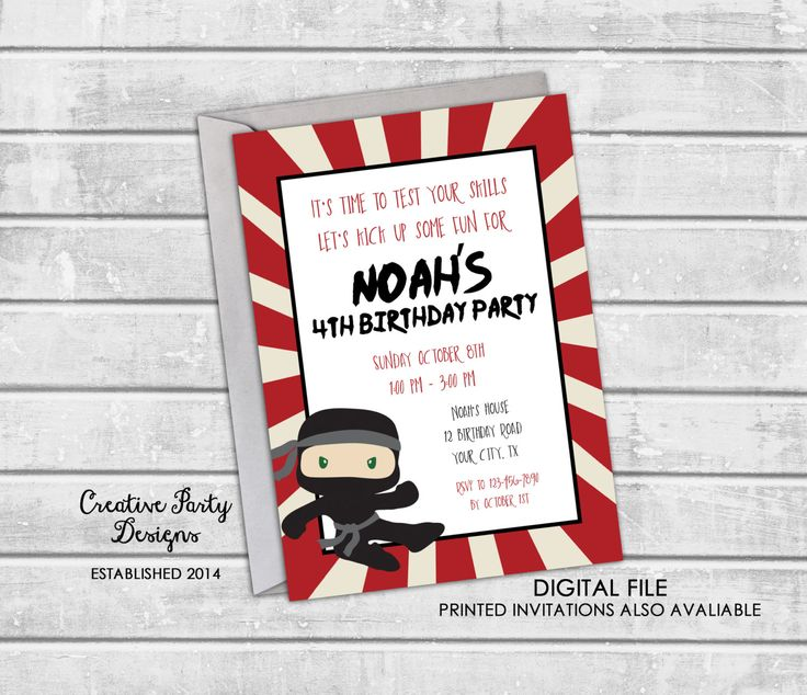 88 best Best Birthday Themes for Kids images – Ninja Birthday Invitations
