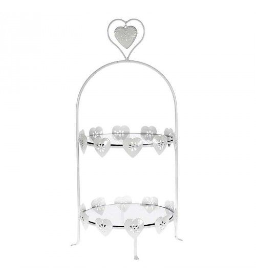 METAL_GLASS 2 TIER PLATE IN WHITE COLOR 30X28X58