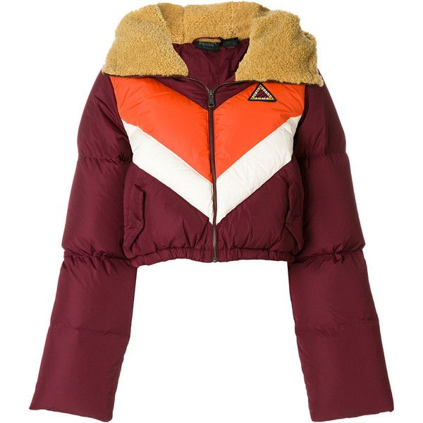 Fenty X Puma cropped padded jacket ($559) ❤ liked on Polyvore featuring outerwear, jackets, red, multi coloured jacket, padded jacket, red padded jacket, puma jackets and red jacket