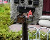 Fairy Garden Accessories Mailbox miniature rusty mail box for terrarium or miniature garden