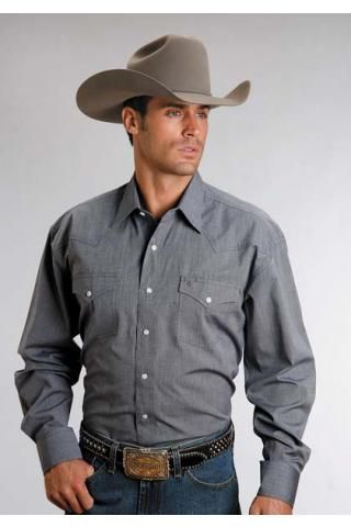 Men S Long Sleeve Blue 5661c4 End On End Navy Stetson