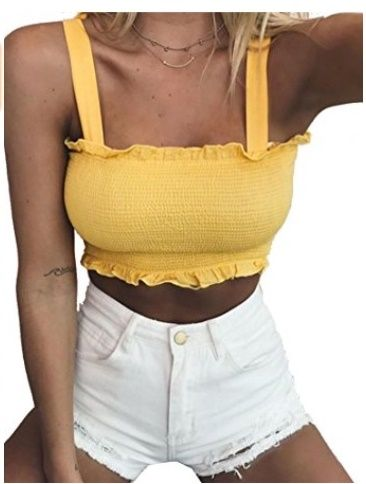 111b5d2f2c4 Kamissy Frill Cropped Tank Top #tanktop #womens #fashion #cute #sexy #smock  #frilled #croptop #summer
