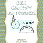 This bundle includes 26 instructional resources for basic geometry skills. Answer keys for every item are included.   Resources are:  *Basic Geomet...