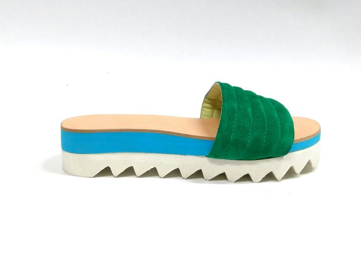 Pillow pool slides_ Emerald green Handcrafted suede sandals