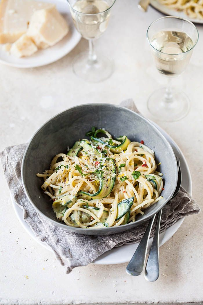 Lemony Zucchini Carbonara with Chilli//