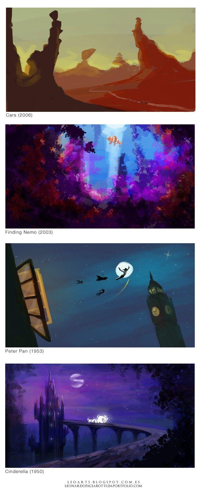 Disney Concept Art. Backgrounds.  Cars (2006),  Finding Nemo (2003),  Peter Pan (1953), Cinderella (1950).