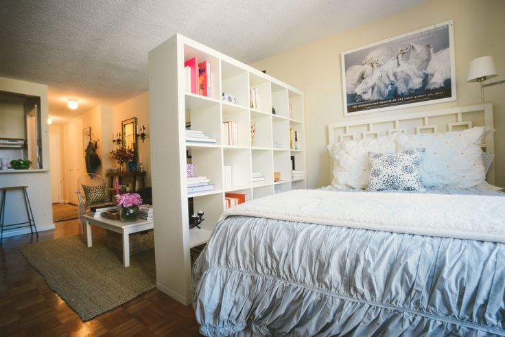 Studio Apartment Separate Sleeping Area this small nyc apartment uses an open concept bookcase to divide